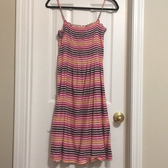 781030c50 H&M Dresses | Hm Multi Colored Stripe Spaghetti Strap Midi | Poshmark